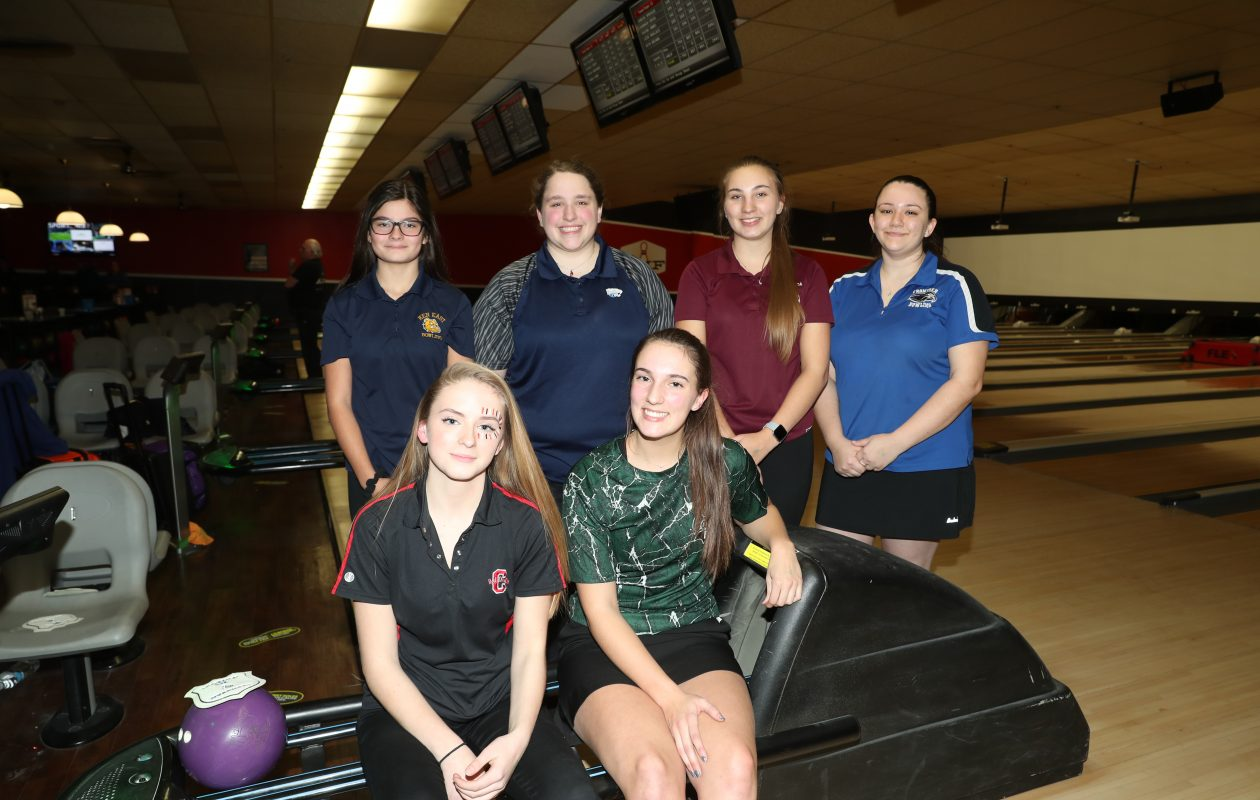Sarah D'Angelo of Clarence, Cameron Spring of Allegany-Limestone, Kaelynn Weber of Kenmore East, Rachel Washer of Depew, Melissa Large of Tonawanda, and Makenzie Yesis of Frontier pose for a group photo of the All Section VI team on Wednesday, Feb. 13, 2019.  (James P. McCoy/Buffalo News)