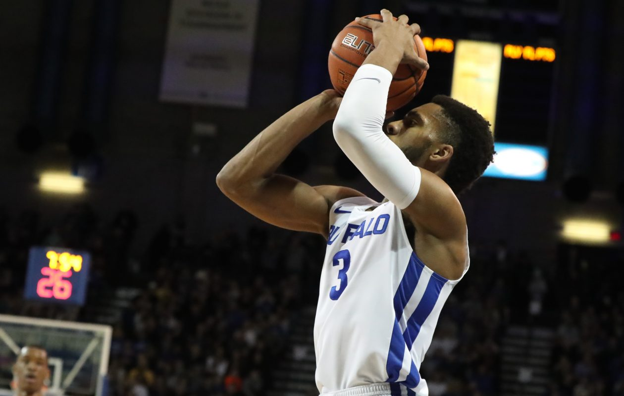 Buffalo Bulls guard Jayvon Graves hits a three pointer in the first half  University at Buffalo Alumni Arena in Amherst on Tuesday, Feb. 19, 2019.  (James P. McCoy/News file photo)