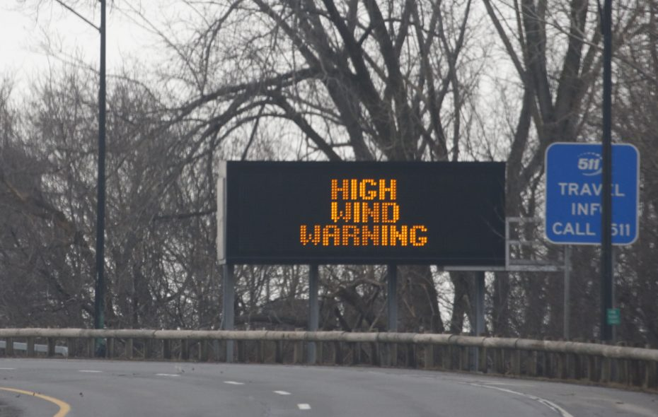 A sign along the Scajaquada Expressway alerts motorists to a high-wind warning during the February windstorm. (Robert Kirkham/News file photo)