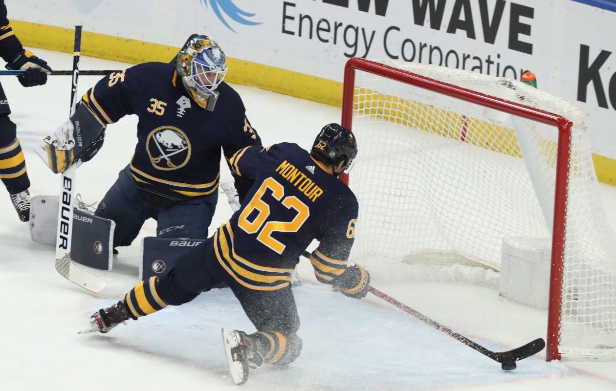 Brandon Montour had 10 points in 20 games with the Sabres this season. (James P. McCoy/Buffalo News)
