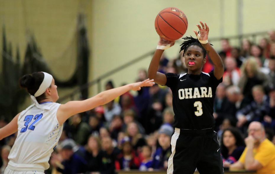 Cardinal O'Hara guard Robbyn Sommerville shoots against St. Mary's during the first half of the Monsignor Martin Class AA girls final at Villa Maria College on Friday, March 1, 2019. (Harry Scull Jr./Buffalo News)