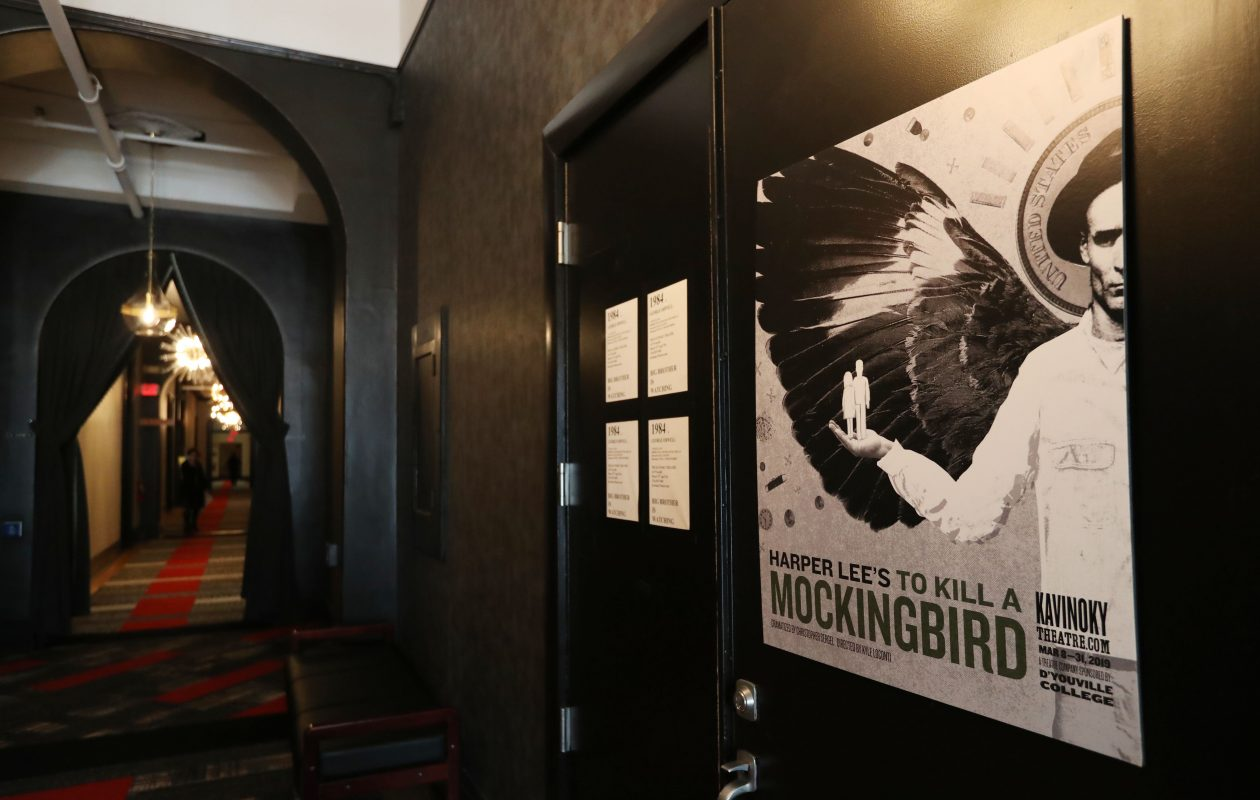 A poster of 'To Kill A Mockingbird' still sits on a theater door at the Kavinoky Theatre after the show was cancelled. (Sharon Cantillon/Buffalo News)