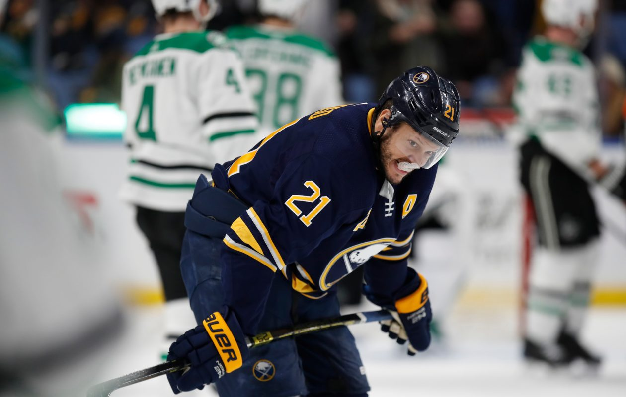 Buffalo Sabres forward Kyle Okposo skates back to the bench after losing 2-0 to the Dallas Stars at the KeyBank Center on Tuesday, March 12, 2019. (Harry Scull Jr./Buffalo News)