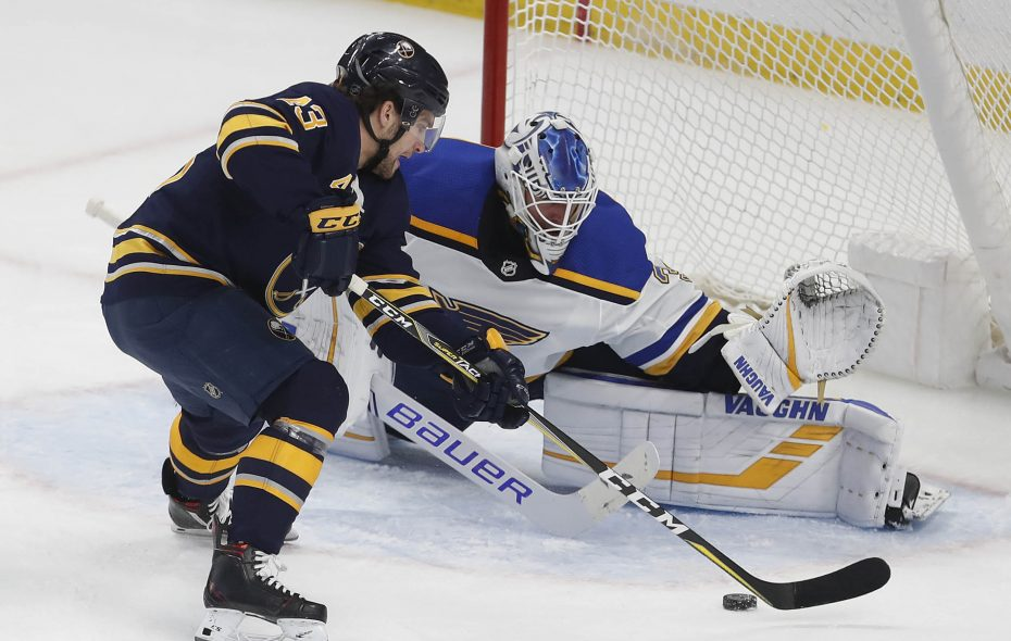 Buffalo Sabres left wing Conor Sheary is stopped on a break away by St. Louis Blues goaltender Jake Allen in the second period at the KeyBank Center in Buffalo Sunday, March 17, 2019. (Mark Mulville/Buffalo News)