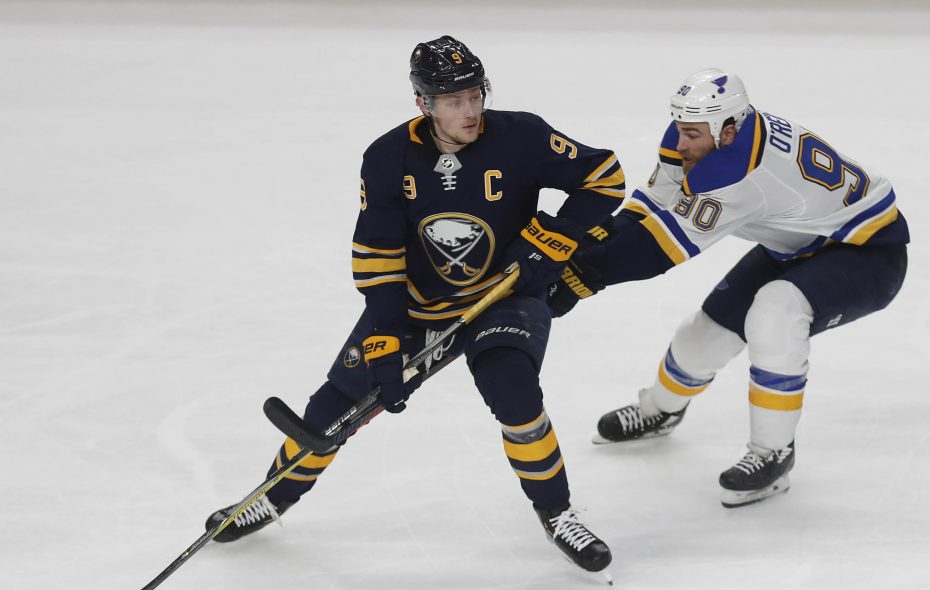 Buffalo Sabres center Jack Eichel moves the puck past St. Louis Blues center Ryan O'Reilly in the second period in KeyBank Center on March 17, 2019. (Mark Mulville/News file photo)