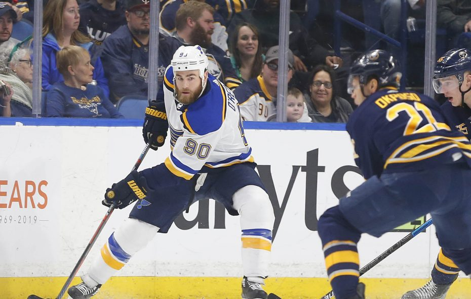 St Louis Blues Ryan O'Reilly looks to make a pass in the first period at the Keybank Center in Buffalo Sunday, March 17, 2019.       (Mark Mulville/Buffalo News)