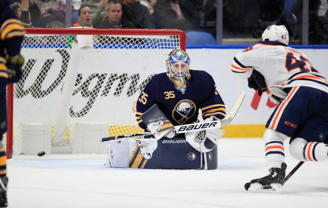 Sabres goaltender Linus Ullmark gives up a goal to Oilers' Zack Kassian during the second period at KeyBank Center on Monday, March 4, 2019. (Harry Scull Jr./Buffalo News)