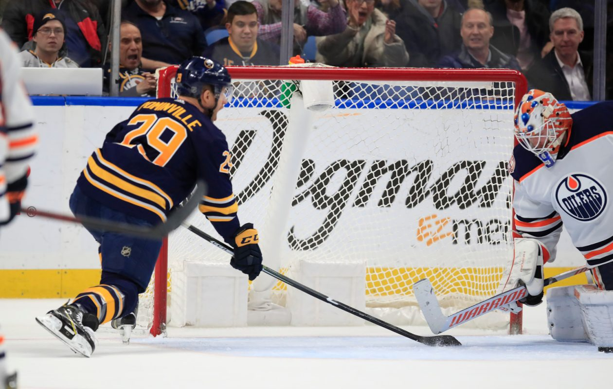 Buffalo Sabres forward Jason Pominville cannot score on Edmonton Oilers goaltender Mikko Koskinen during the third period at the KeyBank Center on Monday, March 4, 2019. (Harry Scull Jr./Buffalo News)
