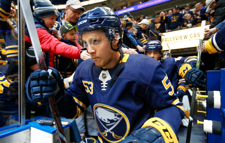 Buffalo Sabres forward Jeff Skinner makes his way to pregame prior to playing the Edmonton Oilers at the KeyBank Center on Monday, March 4, 2019. (Harry Scull Jr./Buffalo News)