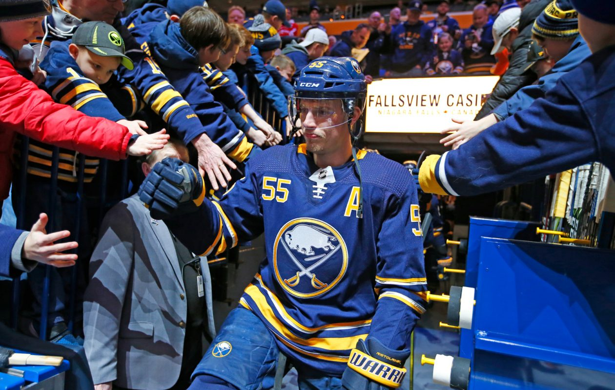 Sabres defenseman Rasmus Ristolainen makes his way to pregame prior to playing the Edmonton Oilers at KeyBank Center on Monday, March 4, 2019. (Harry Scull Jr./Buffalo News)