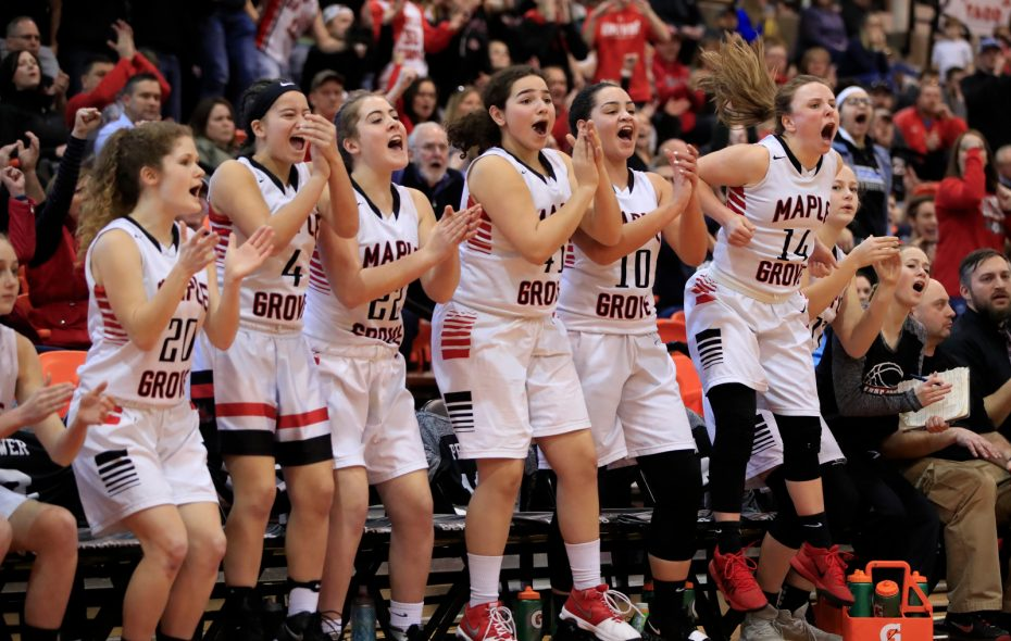 Maple Grove players celebrate a basket against Oakfield-Alabama during the second half of the Far West Regionals Class C Championship on Saturday, March 9, 2019. (Harry Scull Jr./Buffalo News)