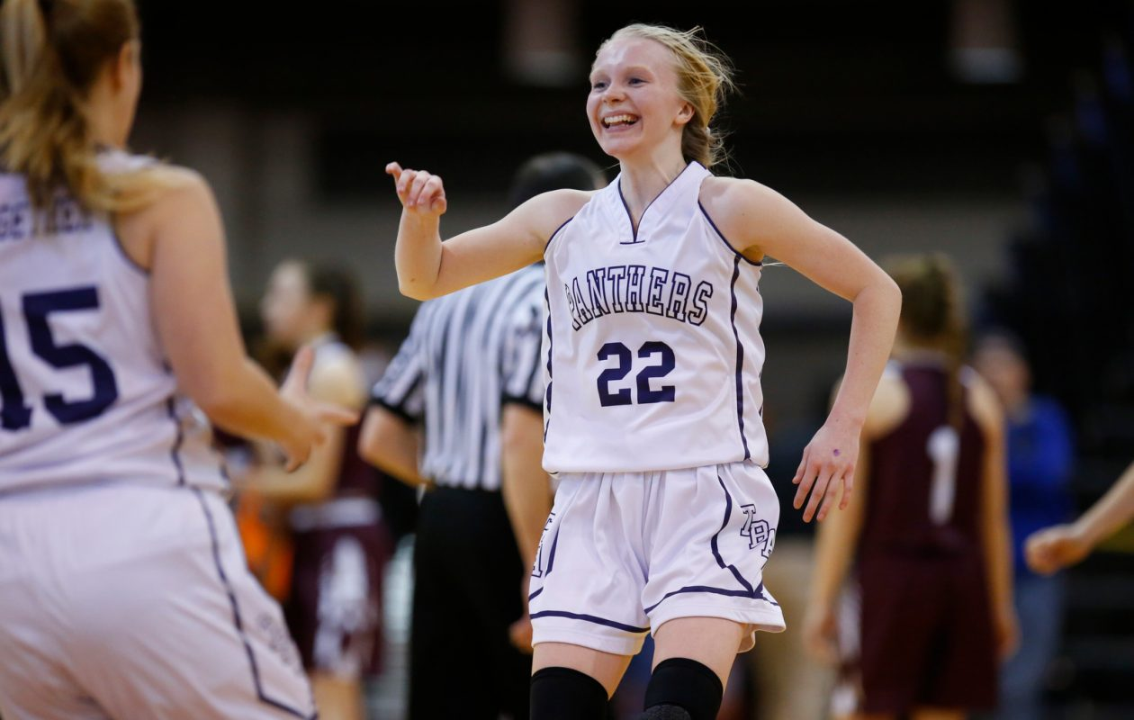 Franklinville guard Danielle Haskell celebrates a victory over Elba in the Far West Regionals Class D Championship at the Buffalo State Sports Arena on Saturday, March 9, 2019. (Harry Scull Jr./Buffalo News)