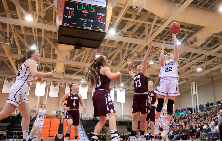 Franklinville guard Danielle Haskell shoots against Elba during the Far West Regional Class D Championship on March 9. (Harry Scull Jr./Buffalo News)