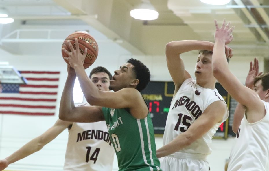 Lewiston-Porter's Trenton Scott rebounds the ball against  Pittsford Mendon's Michael Harrington in the first half during the Class A Far West Regionals Champion at Greece Athena High School on Saturday, March 9, 2019. (James P. McCoy/Buffalo News)