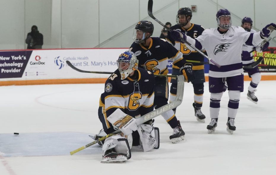 Niagara defenseman Noah Delmas scores a goal against Canisius in the opening round of the Atlantic Hockey Tournament Friday (James P. McCoy/Buffalo News)