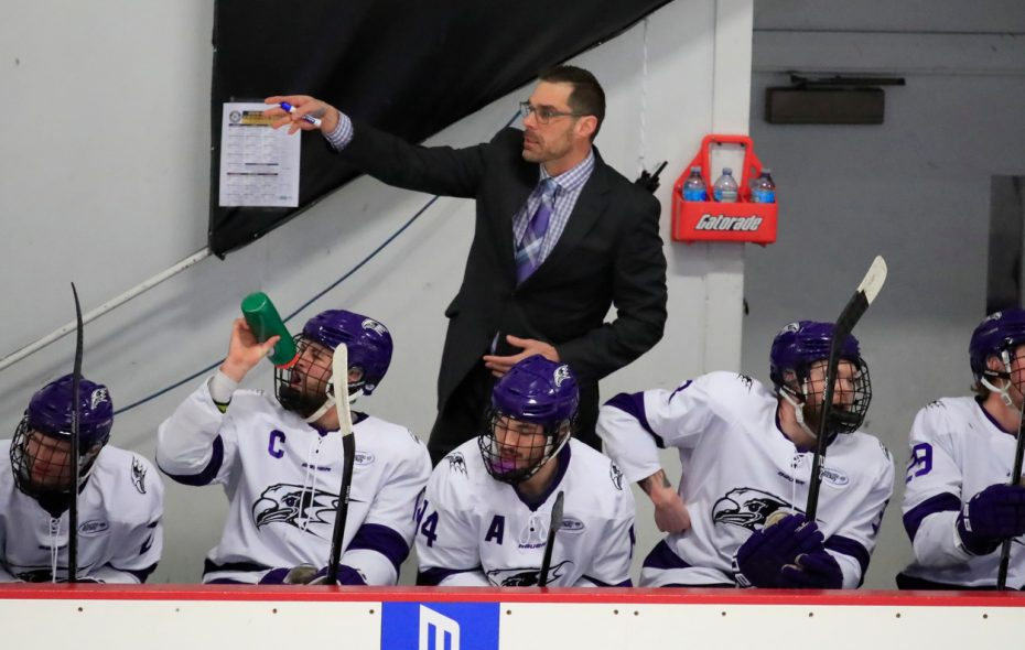 Niagara University coach Jason Lammers talks to his team as they play Canisius College. (Harry Scull Jr./Buffalo News)