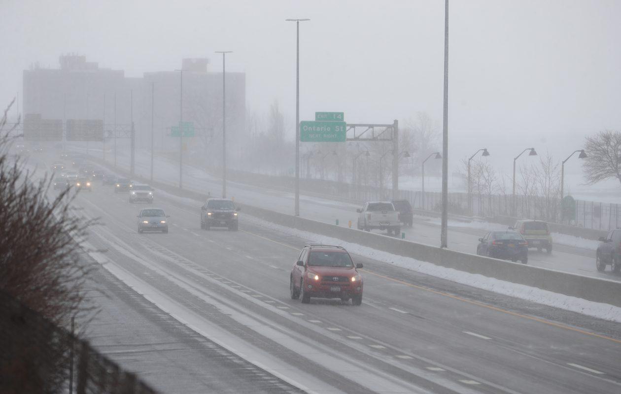 Snow showers were in the forecast again for Buffalo on Sunday. (John Hickey/Buffalo News)