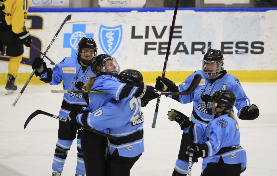 Members of the Beauts celebrate a goal. (Harry Scull Jr./News file photo)