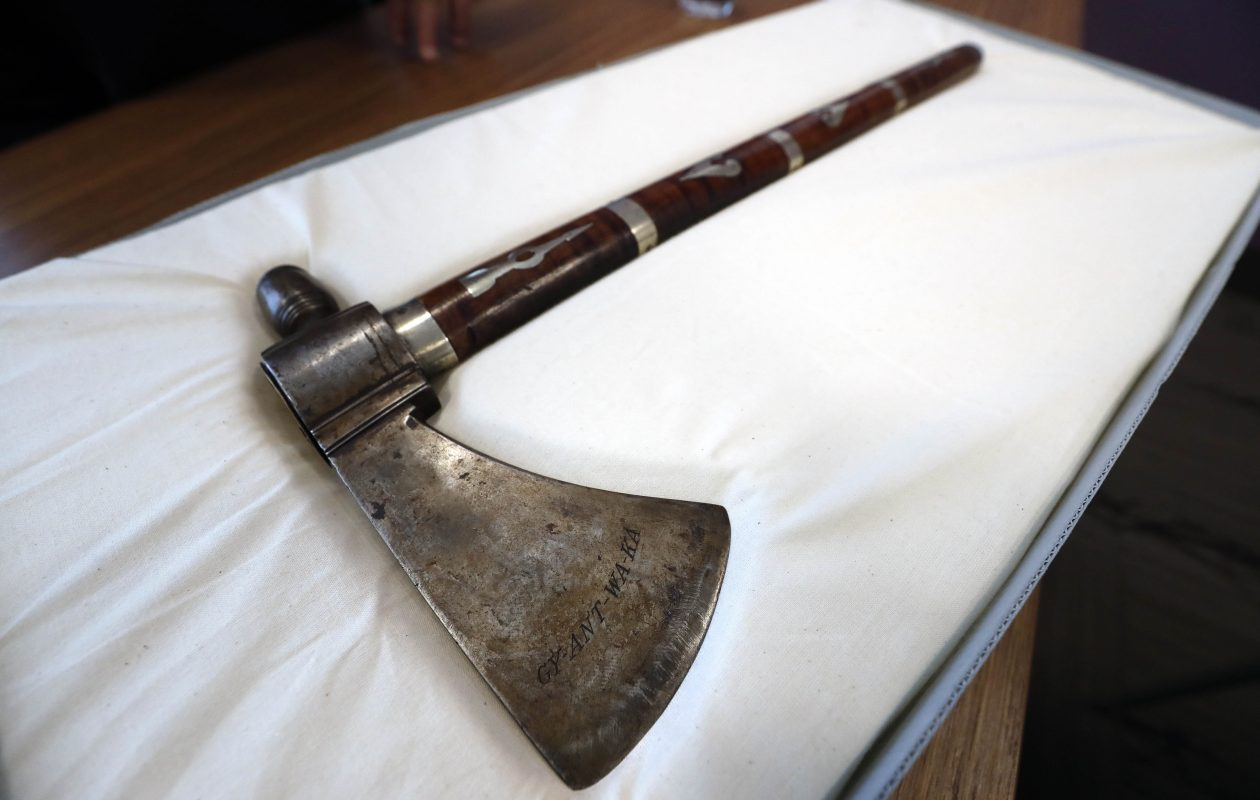 The peace pipe-tomahawk of Chief Cornplanter at the Seneca-Iroquois National Museum in Salamanca Monday, March 11, 2019.        (Mark Mulville/Buffalo News)