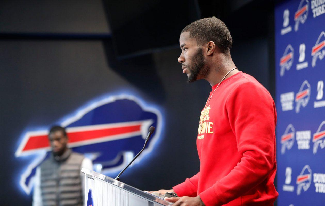 New Buffalo Bills wide receiver John Brown talks to the media at One Bills Drive, Thursday, March 14, 2019. (Derek Gee/Buffalo News)