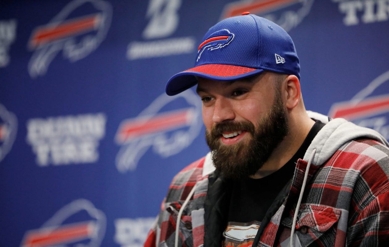 Buffalo Bills center Mitch Morse talks to the media at One Bills Drive. (Derek Gee/News file photo)