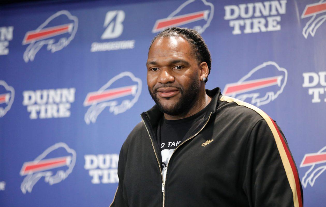 New Buffalo Bills tackle Ty Nsekhe talks to the media at One Bills Drive. (Derek Gee/Buffalo News)