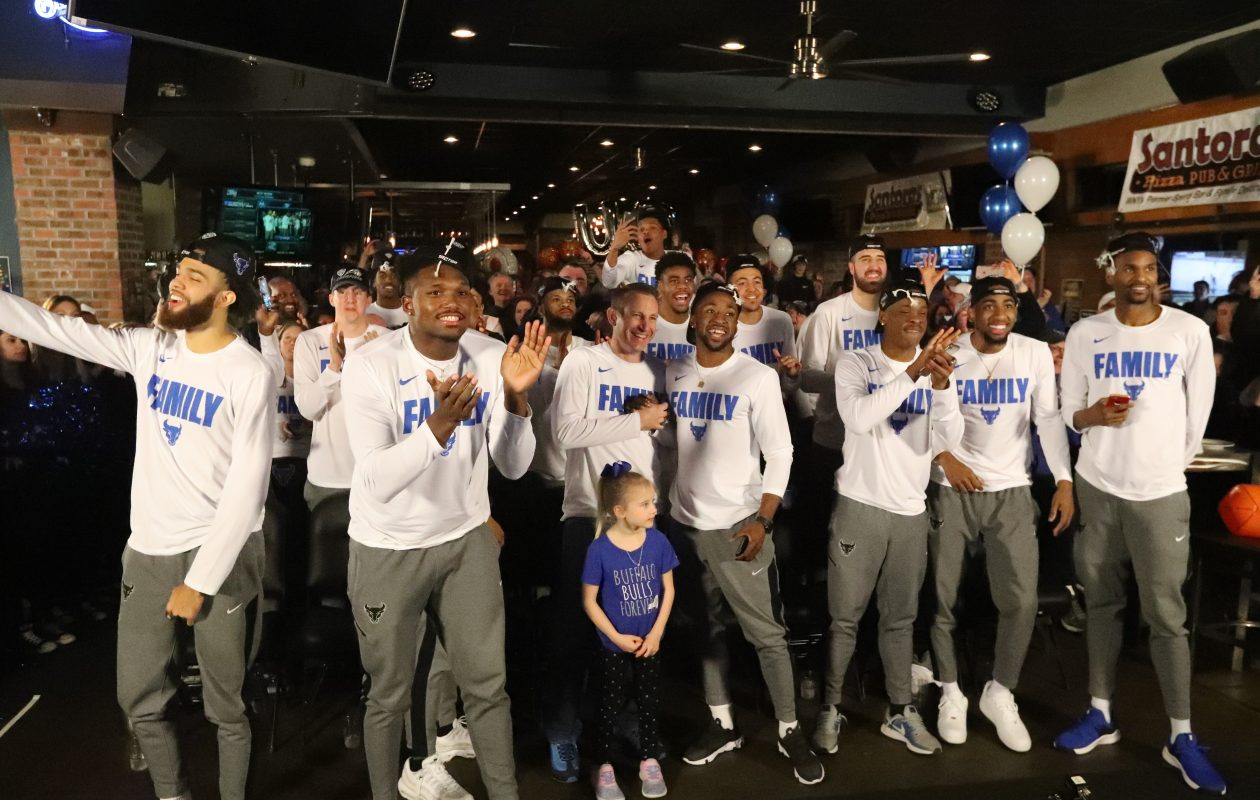 UB celebrates after finding out their NCAA destination. (James P. McCoy/Buffalo News)