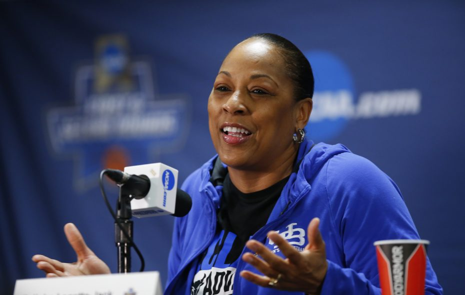 Buffalo coach Felisha Legette-Jack speaks to the media. (Harry Scull Jr./Buffalo News)
