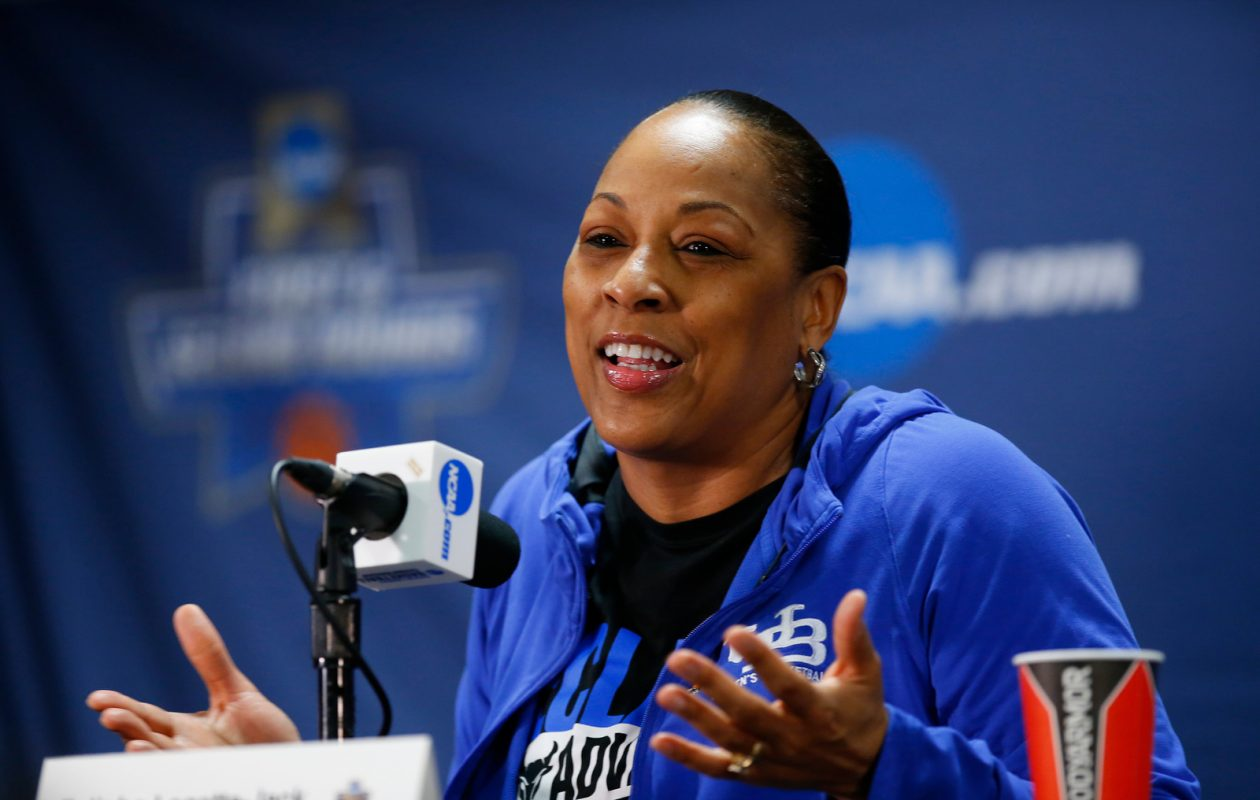 UB coach Felisha Legette-Jack speaks to the media prior to practice at the Gampel Pavilion on Thursday, March 21, 2019. (Harry Scull Jr./Buffalo News)