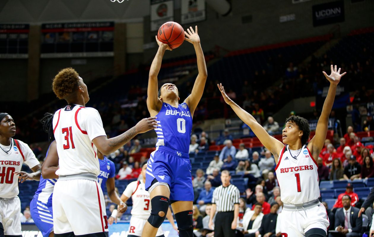 Buffalo forward Summer Hemphill shoots against Rutgers during the first half of an NCAA college basketball tournament first round game at the Harry A. Gampel Pavilion on Friday, March 22, 2019. (Harry Scull Jr./Buffalo News)