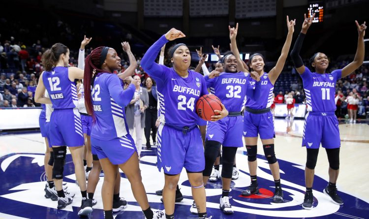 UB players salute the fans after defeating Rutgers in the NCAA Tournament first round at the Harry A. Gampel Pavilion on Friday, March 22, 2019. (Harry Scull Jr./Buffalo News)