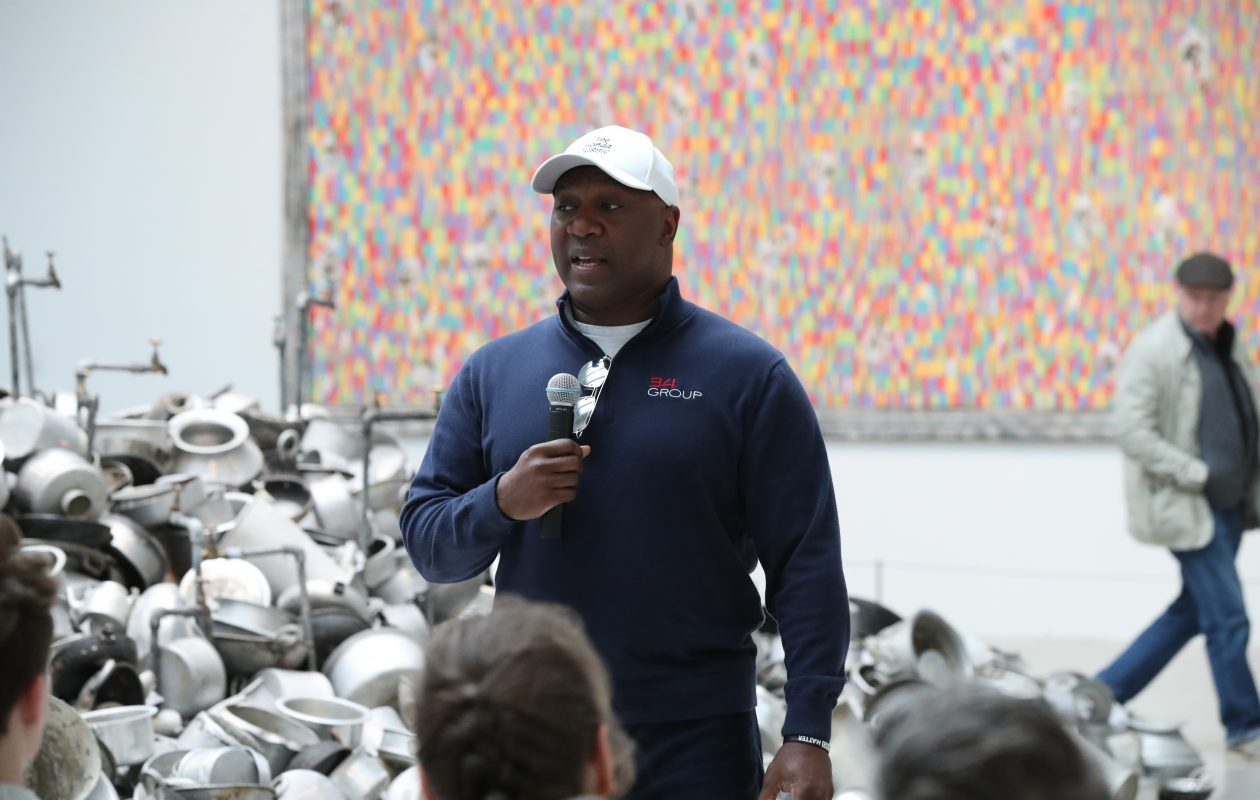 Former Bills running back Thurman Thomas talks a little about art and a lot more about the Buffalo Bills at the Albright-Knox Art Gallery on Sunday. (James P. McCoy/Buffalo News)