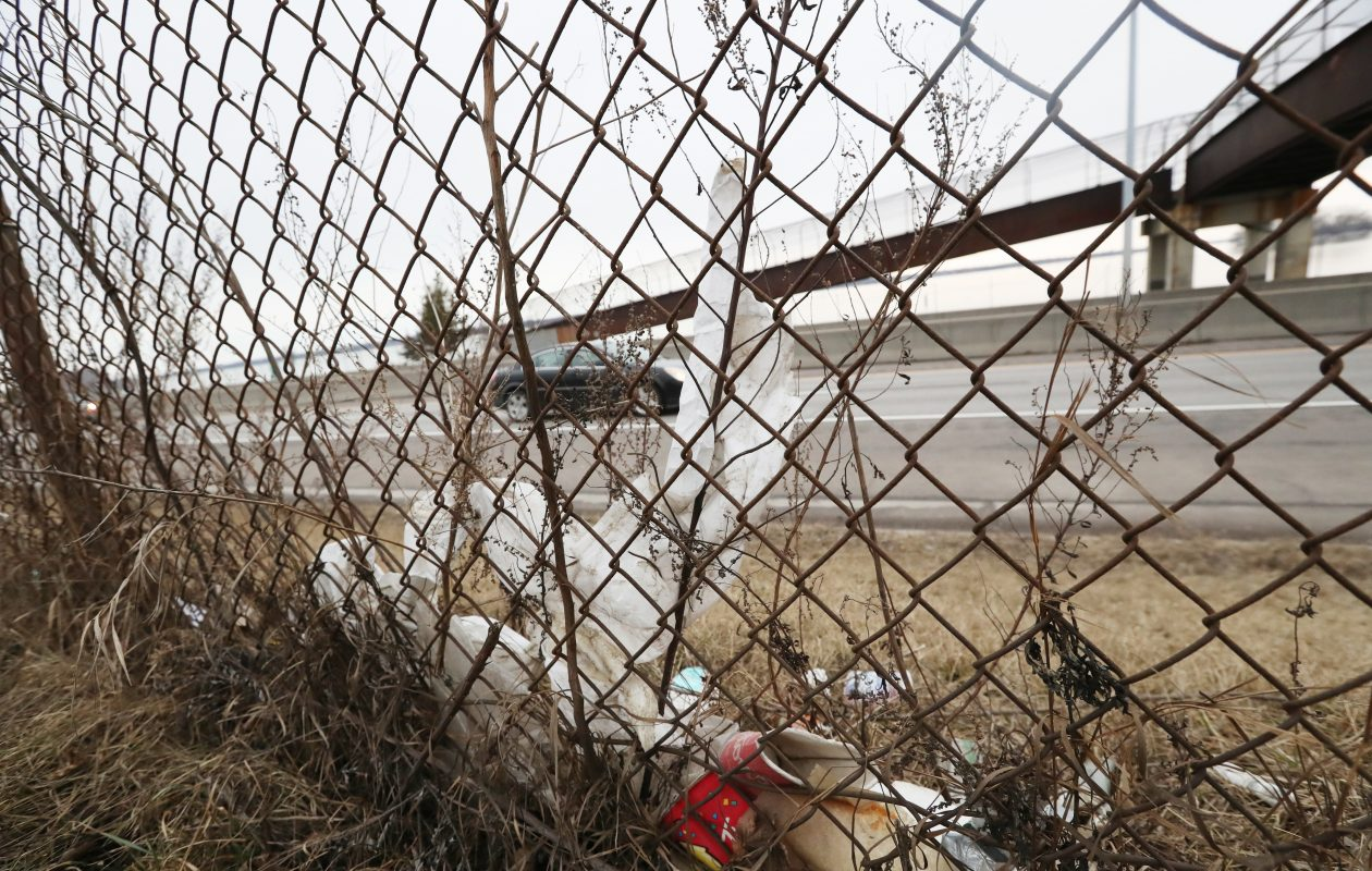 It is that time of year when the roads are filled with trash everywhere. This is the Niagara Thruway last Thursday across from LaSalle Park in Buffalo. (James P. McCoy/Buffalo News)
