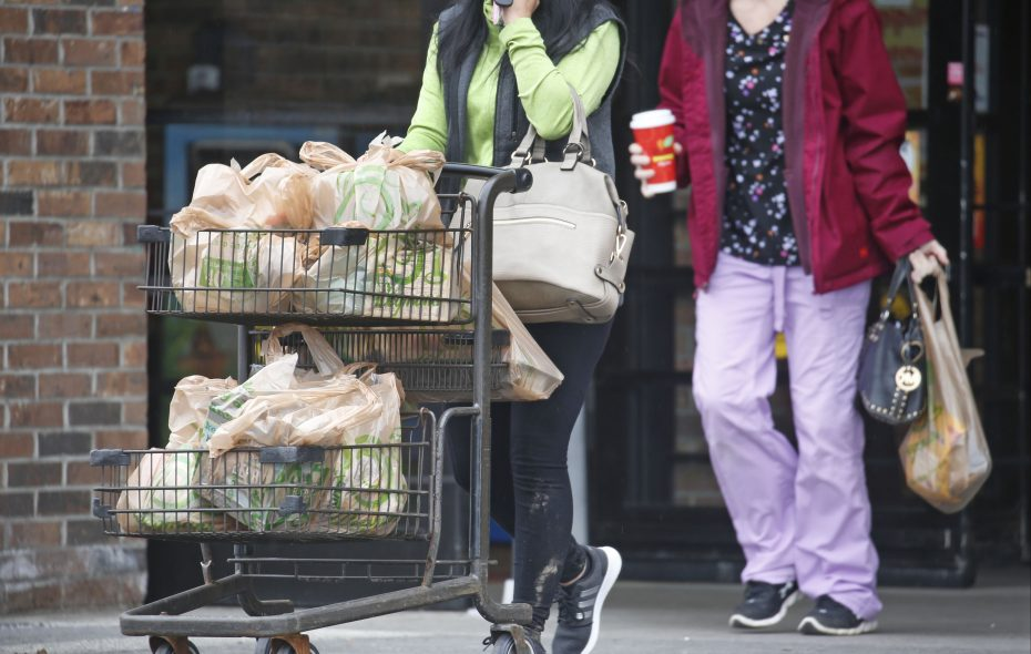 A shopper has many plastic grocery bags after a stop at the Wegmans location on Transit Road in Depew.  (Robert Kirkham/Buffalo News)