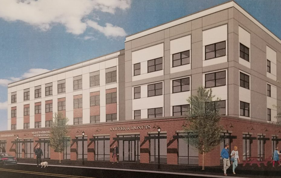 An architect's rendering of a proposed retail and apartment building at 402 Buffalo Ave. in Niagara Falls. (Image courtesy of Merani Hotel Group)