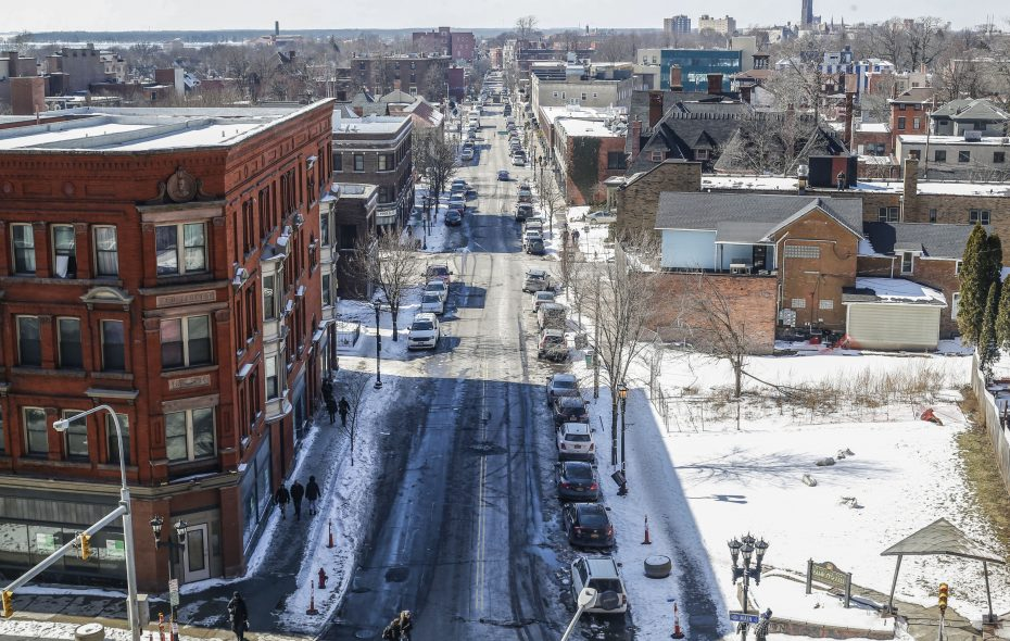 A view of Allen Street in Buffalo, looking west from the University at Buffalo's  Jacobs School of Medicine and Biomedical Sciences. (Derek Gee/Buffalo News)