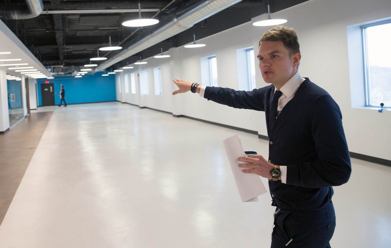 Christian Bak gives a tour of the Bak USA space in 2017. Bak and his parents have started a new company, Blank Technologies Corp., four months after Bak USA closed its doors. (Derek Gee/News file photo)