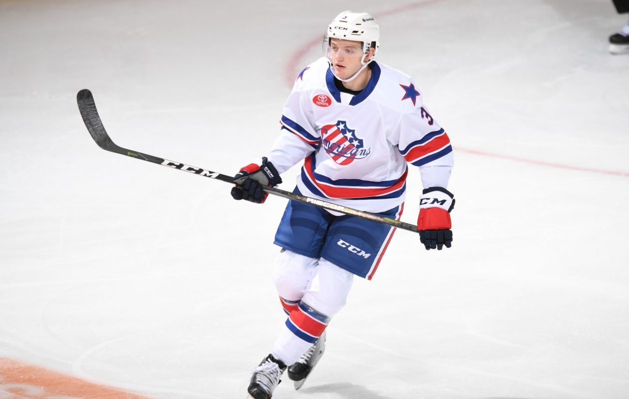 The Amerks' Will Borgen got into his first AHL fight on Feb. 20 against the Cleveland Monsters. (Micheline Veluvolu/Rochester Americans)