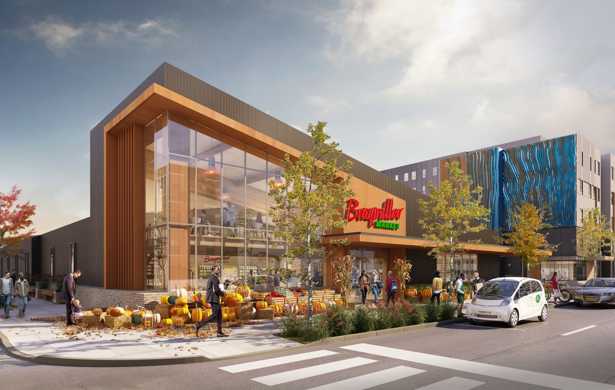 Braymiller Market will be coming to Ciminelli Real Estate Corp.'s 201 Ellicott St., instead of Tops Markets' Orchard Fresh. (Rendering courtesy of Ciminelli Real Estate Corp. and Cannon Design)