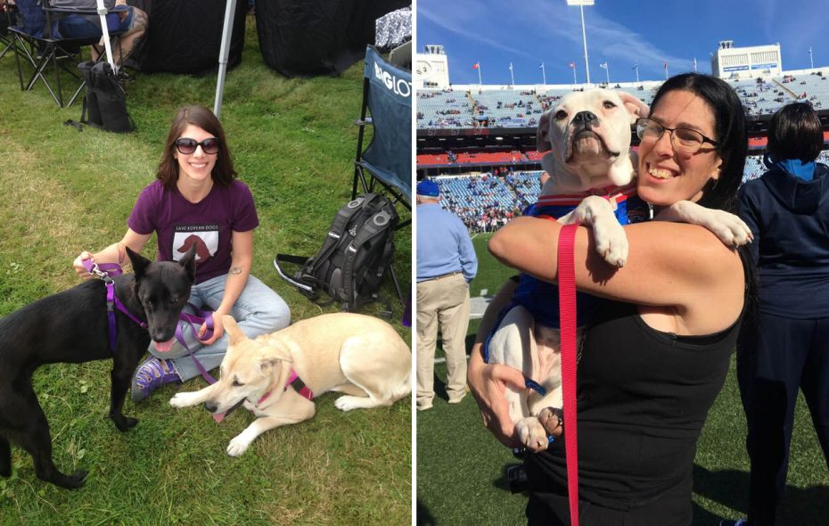 Crystal Gerovac with Jade and Lily Opal, her two South Korean rescue dogs. Skye Lipton, founder and president of The Silver Lining for Pitbulls, sponsors a weekly concession stand (in season) at New Era field to support their rescue work.