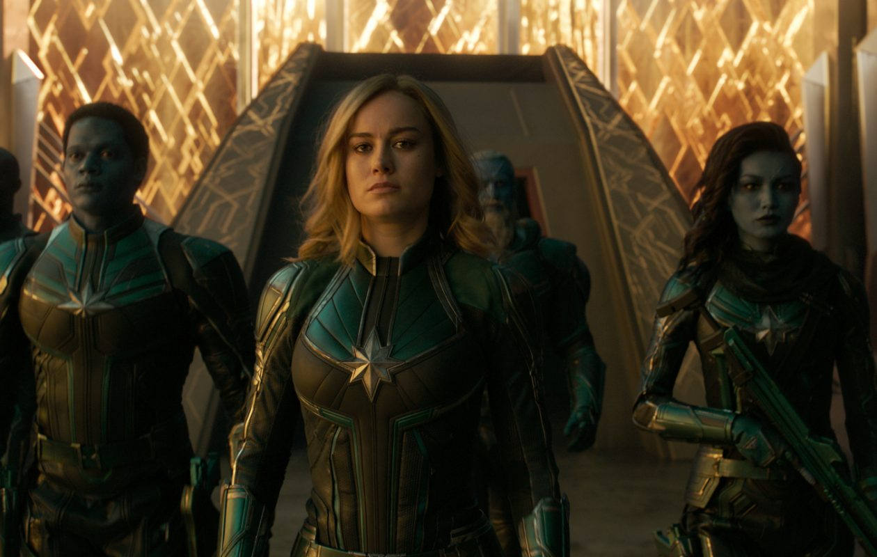 Brie Larson, center, plays the title character in 'Captain Marvel.' (Photo Film Frame. ©Marvel Studios 2019)
