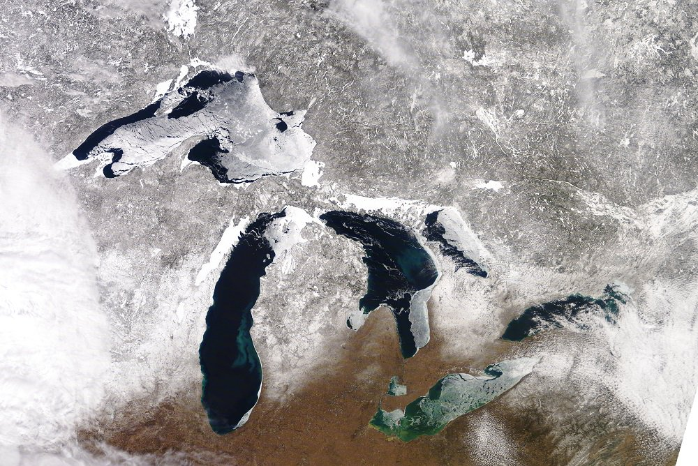 The Great Lakes as viewed from space on Tuesday, March 12. (Great Lakes Environmental Research Laboratory)
