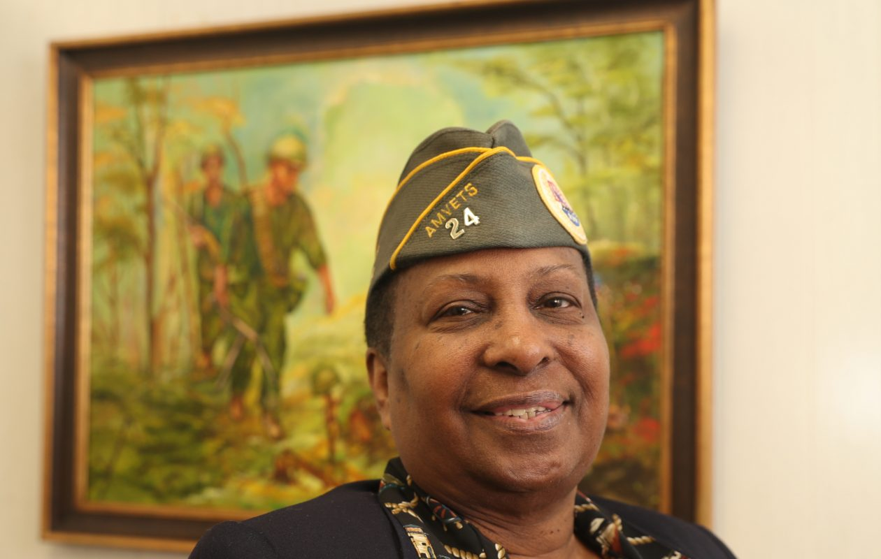 Debbera M. Ransom, a U.S. Army veteran who served from 1976 to 1979, helps counsel veterans as commander of Amvets Post 24 and at this office  at 130 Kosciuszko St., behind St. Adalbert Church in Buffalo. (John Hickey/Buffalo News)