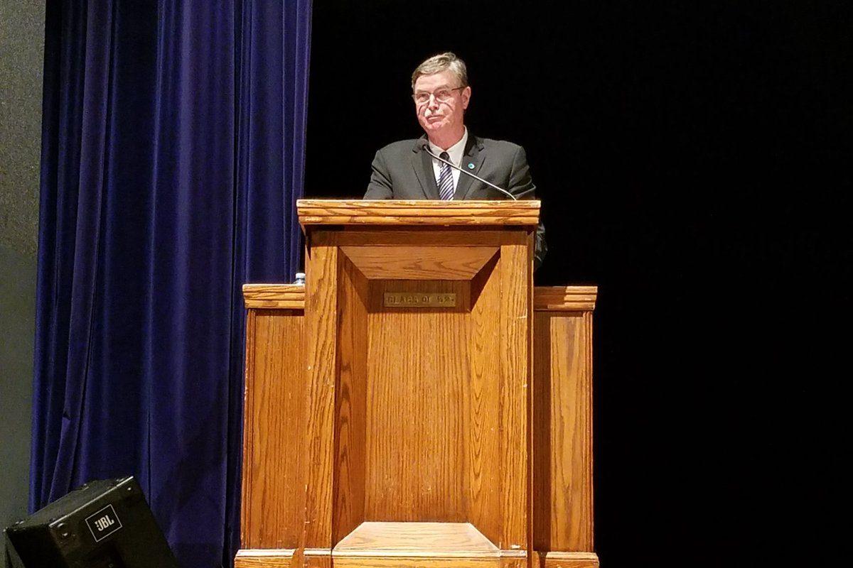 Niagara Falls Mayor Paul A. Dyster during his State of the City address March 4, 2019, in Niagara Falls High School. (Thomas J. Prohaska/Buffalo News)