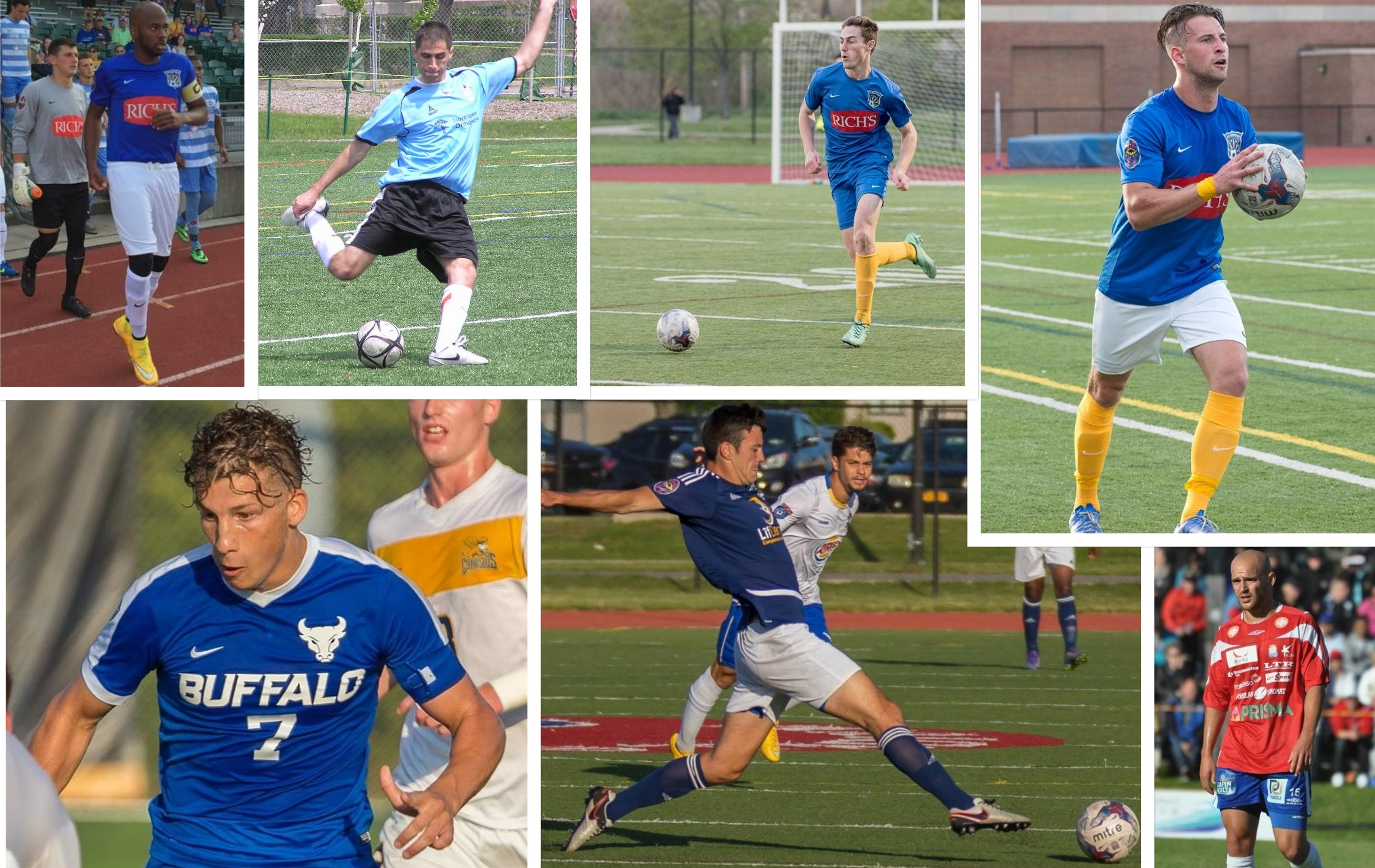 Some of the faces from BN Soccer's Best XI over the course of FC Buffalo's 10-year history. (Credits: News file photos, Fieldoo, Queen City FC, Max Avery)