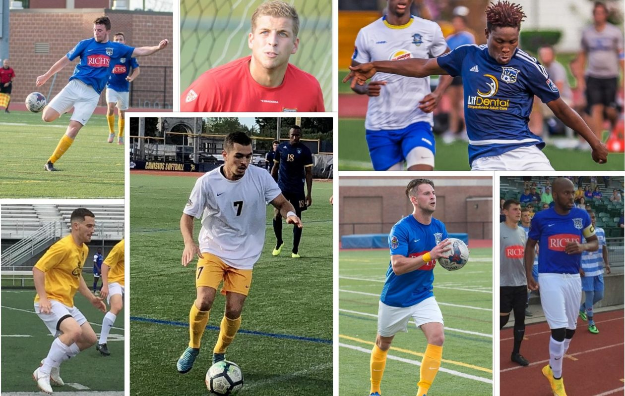 FC Buffalo has announced the majority of its summer roster. Clockwise, from upper left: Kieran Toland, Jeremy Figler, Akean Shackleford, Kendell McFayden, Chris Walter, Manu Cavazzoli, Austin Stout. (News file photos except Figler (Bonaventure) and McFayden (FCB).