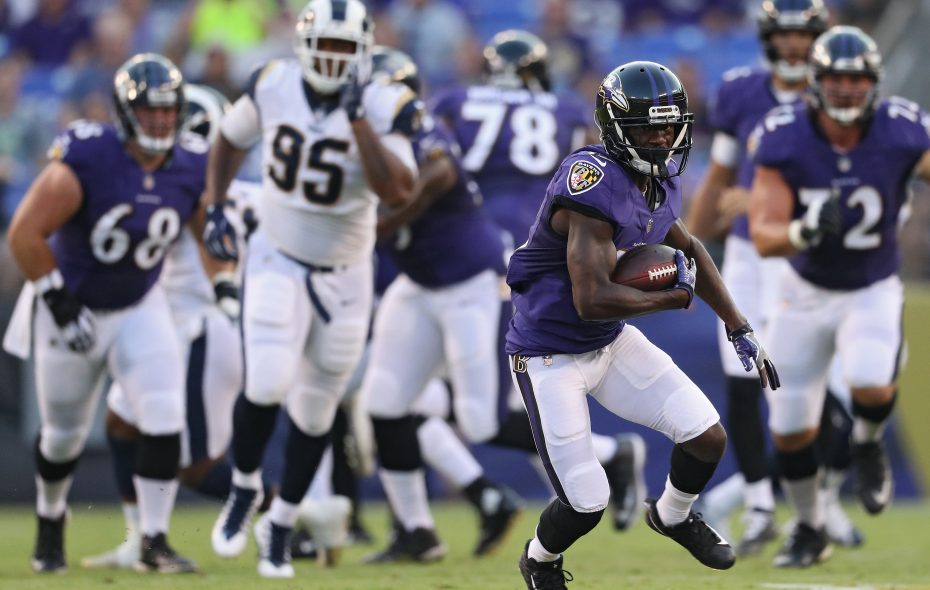 Former Ravens receiver John Brown will give the Bills and quarterback Josh Allen a deep threat. (Getty Images)