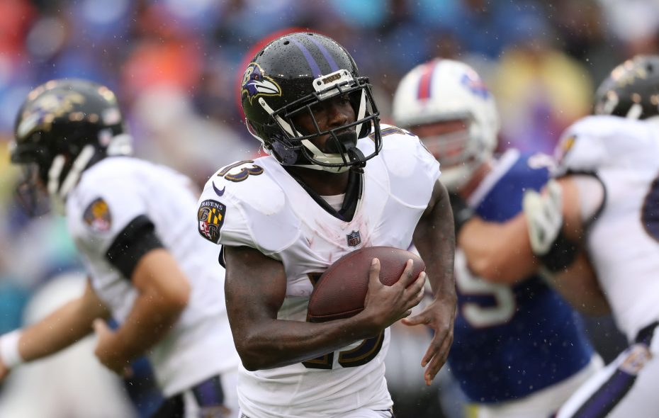 Former Ravens receiver John Brown averaged 17.0 yards per catch last season. (Getty Images)