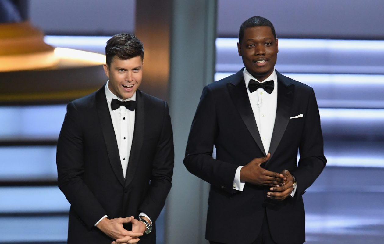 Colin Jost, left, took a jab at the Bills. (Kevin Winter/Getty Images file photo)