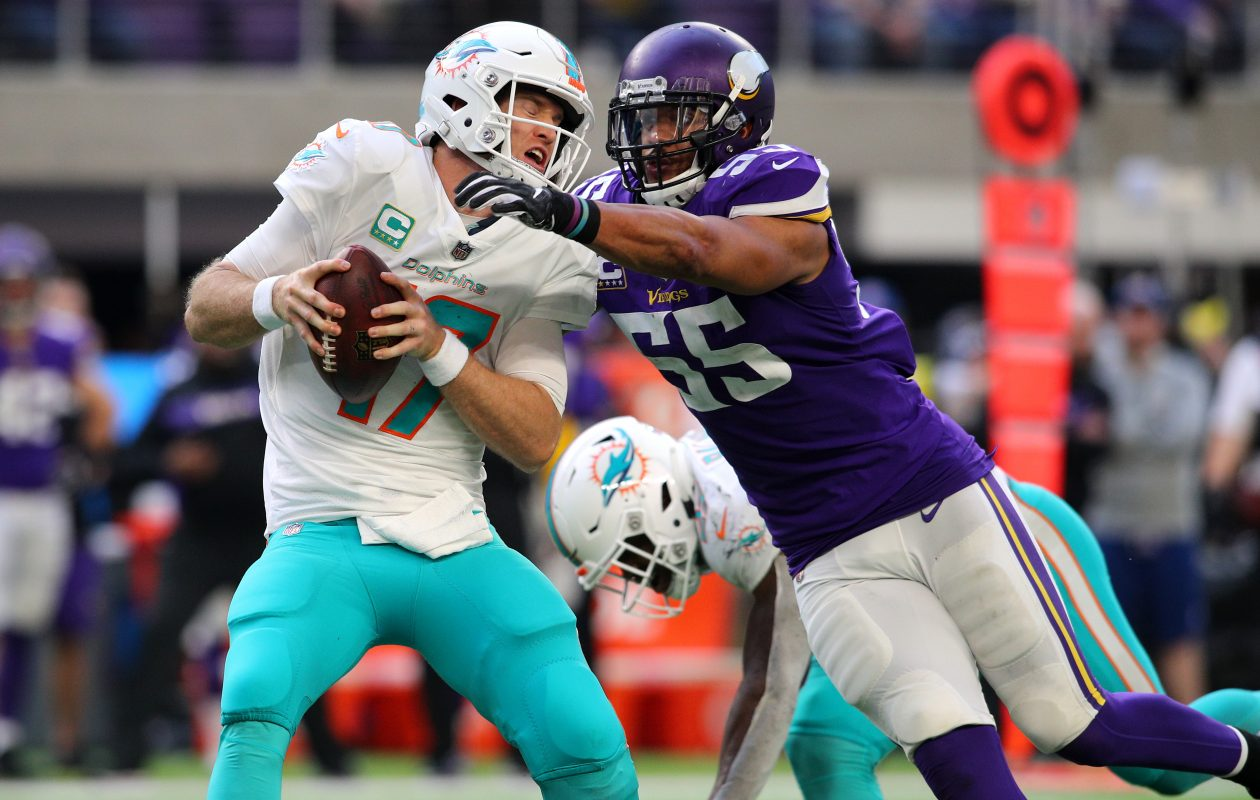 Vikings linebacker Anthony Barr is a free agent.  (Adam Bettcher/Getty Images)